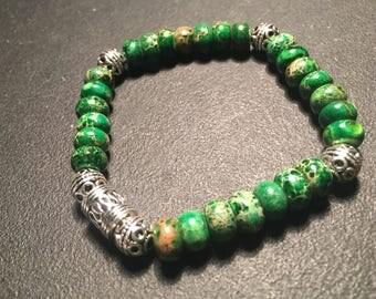 Unisex Green Jasper Bracelet