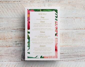 Tropical Wedding Menu, Hawaii Menu, Menu Printable, Maui Wedding, Maui Menu, Tropical Wedding, Tropical Menu, Hibiscus Menu