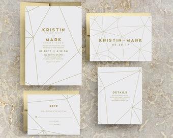 Gold Geometric Wedding Invitations, Geometric Gold Invitations, Geometric Invites, Printable Invites, Modern Gold, Gold Wedding
