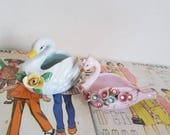 Vintage Kitsch tiny swan planter jewelry holder nursery decor baby shower pastel cute Made in Japan lot of 2 instant collection