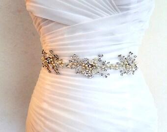 Silver Leaf Vine Wedding Dress Belt. Boho Crystal Pearl Bridal Sash. Gold Rhinestone Flower Wire Sash. Silver Belt. FLORA