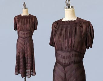 RESERVED 1930s Dress / Late 30s Day Dress /Chocolate Sheer Striped Dress / Ruching / Deco
