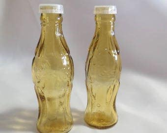 Amber Color Glass Coca Cola Advertising Salt and Pepper Shaker Set