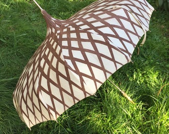 Vintage Umbrella Brown and White