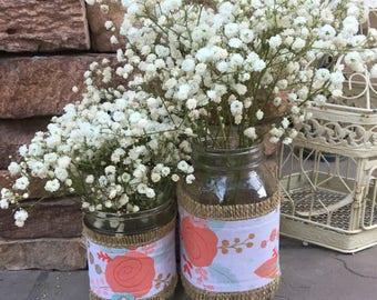 Mason Jar Wrap, Floral, Boho, Garden, Mason Jar Decoration, Baby Shower, Party, Wedding Decoration