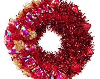 "CHRISTMAS IN JULY Valentine's Day Wreath Tinsel with Red Hearts (Approx. 24"" Round) Indoor or Outdoor"