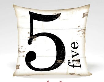 Farmhouse Number 5 Decorative Pillow -Home Decor -Full Inserted Pillow or Cover Only -Black White Distressed