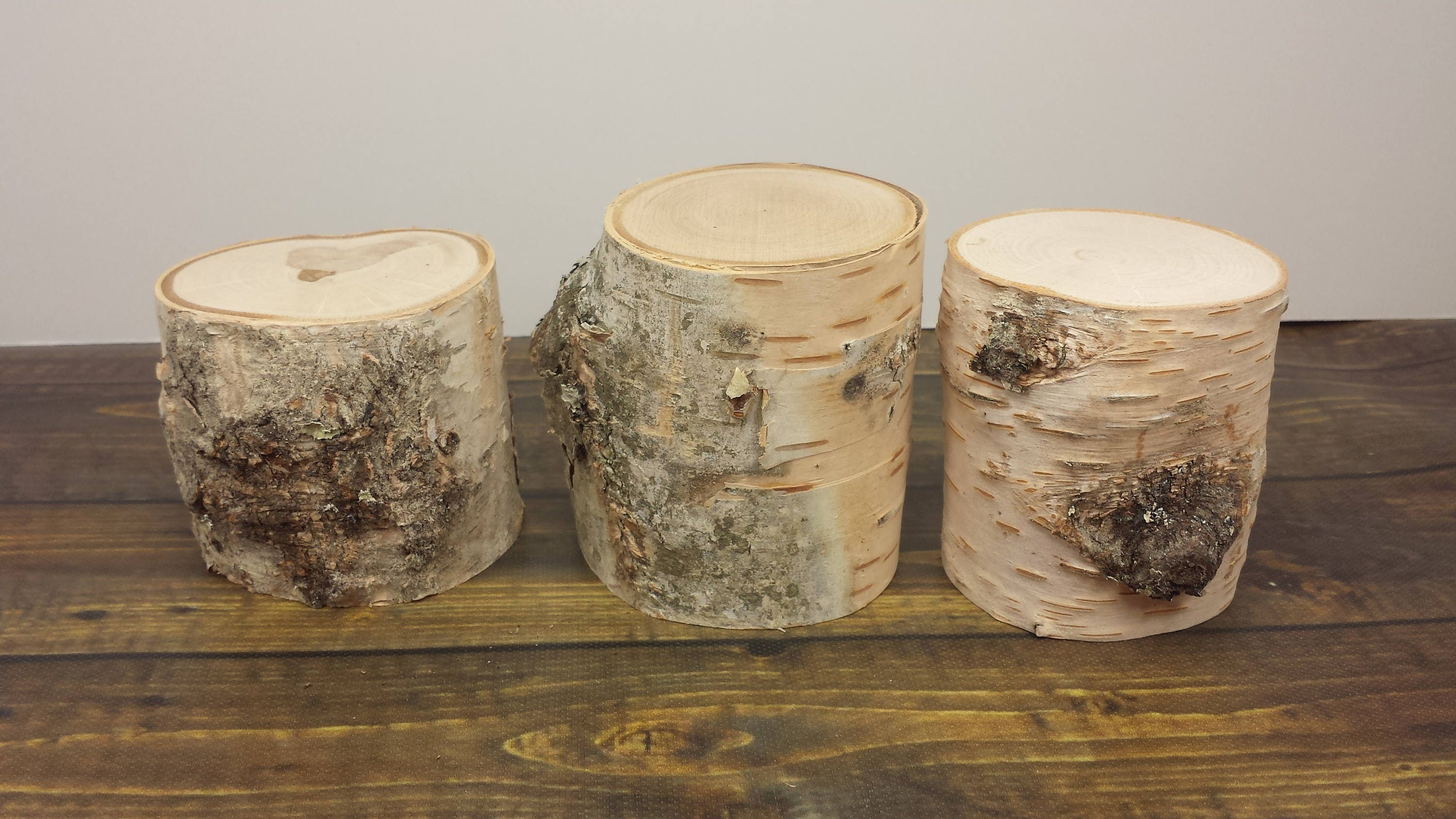 White Birch Pillars Natural Wood Blocks Candle Risers