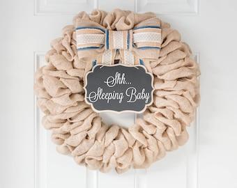 BEST SELLER! Spring Wreaths for Front Door, Front Door Wreaths, Shhh Baby Sleeping Sign Wreath Burlap Farmhouse Wreath, Home