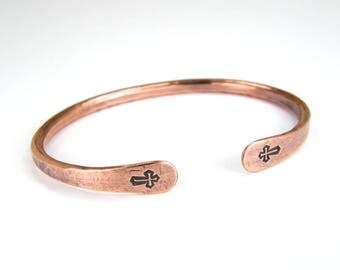 Copper Stamped CROSS Bracelet, Religious Cross Bracelet, Antiqued 6-Gauge Copper Cross Bangle in Mens or Womens