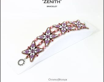 Bead pattern beading pattern DIY bracelet and pendant Zenith with Irisduo, Superduos, bicone, round beads and seed beads