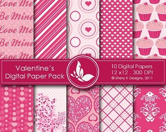 40% off Valentine's Paper Pack - 10 Digital papers - 12 x12 - 300 DPI