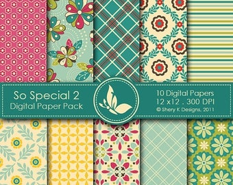 40% off So Special 2 Paper Pack - 10 Printable Digital papers - 12 x12 - 300 DPI //////2