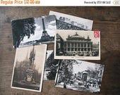 Paris Postcards . Set of 6 Antique French Souvenir Eiffel Tower Art Post Cards . Paris Card Set - postcard lots, sepia , black and white