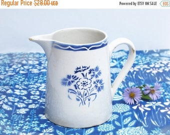 Circa 1930 ,French vintage pitcher water, milk pitcher, blue art deco flower stencil