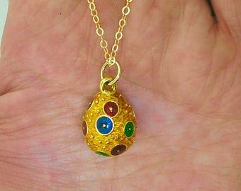 ENAMELED Egg Necklace~COLORFUL Enameled Egg Gold-Plated PENDANT