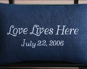 Wedding Gift / Anniversary Gift | Indoor Outdoor Pillow Cover in Indigo Navy Blue | Love Lives Here | Monogrammed | Embroidered | Date