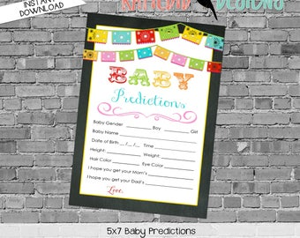 baby shower games printable baby predictions stats 301 fiesta Papel Picado chalkboard digital sprinkle rustic chic navy gold mint green