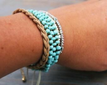 Beaded Bracelet, Boho Wrap Bracelet, Boho Bracelet, Boho Jewelry, Summer Jewelry, Turquoise Jewelry, Stackable Bracelet, Layered Bracelet
