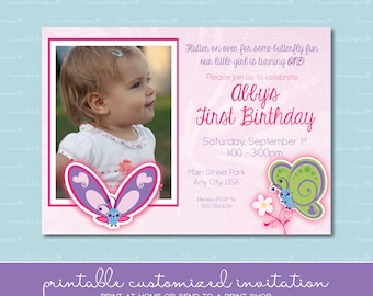 Flutterby Butterfly Birthday Invitation with Photo