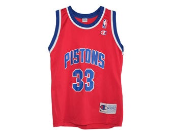 Vintage Grant Hill Detroit Pistons NBA Champion Red Away Jersey M 10-12, Made in USA