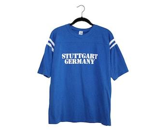 Vintage Stuttgart Germany Stallions 1985 Artex Blue & White Football Jersey Shirt, Made in USA - Large