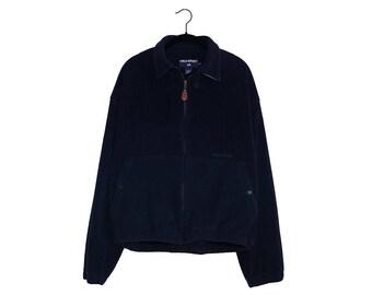 Vintage POLO SPORT Ralph Lauren Dark Blue Fleece Jacket Made in USA - Large