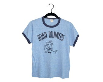 Vintage 70's Road Runners J.D. Auto Parts Russell Athletic Light Blue Tri-Blend Ringer T-Shirt, Made in USA - Small