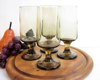 "Smoked Whiskey Sour Glasses, Vintage Libbey TAWNY ACCENT Glassware, Set of 4, 5 1/2"" 7oz Stemware ... Cocktail Glasses, Retro Modern Barware"
