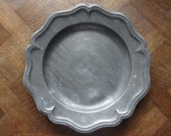 Antique French large Pewter Etain dish tray charger platter plate serving table display old aged used circa 1850-1900's / English Shop