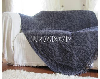 Twin XL dorm bedding Summer blanket shawl gray damask  - Sofa bed throw - couch coverlet - Woven - blanket bed scarf Nurdanceyiz Turkey