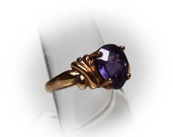 Sterling Silver Three Carat  Pear Shaped Amethyst Ring