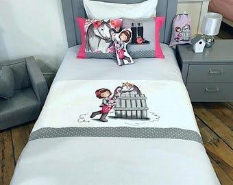 kids bedding, kids bedding set,set ,girl,horse,pink,grey,original