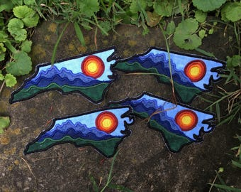 Sunrise over the Blue Ridge Mountains handmade iron on patch, Appalachia North Carolina patchlique... made from recycled materials!