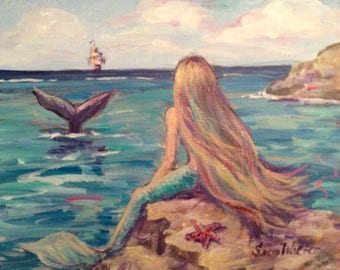 Mermaid Painting Mermaid by the sea  Made to order