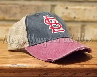 STL Cardinals Distressed Trucker Hat - St. Louis Cardinals Baseball Hat - Saint Louis Cardinals Ollie Cap, Cards baseball