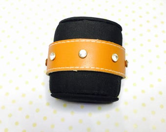 Organic Cuff Leather Bracelet, recycled, clear rhinestones, Gold Tone Magnetic Clasp, Hand Made in The USA, Item No. L172