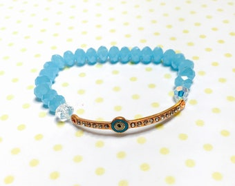 Lucky evil eye Bracelet,  blue crystals, stretchy, beaded, layering, handmade, item no. L424