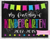 First Day of Kindergarten Chalkboard sign, Instant Download, Girl Back to School, Printable Back to school sign, Preschool graduation invite