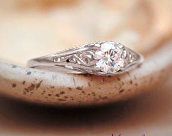 White Gold Dainty Engagement Ring - 14 K Filigree Engagement Ring - Lace Moissanite Engagement Ring - Moissanite Ring - Diamond Alternative