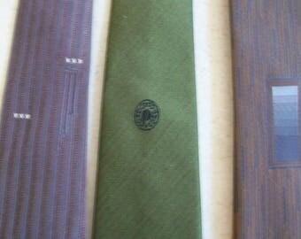 Vintage skinny tie lot, retro mid century, silk tie,, Wembley, D'Zio, Brocks, brown, olive, 1960s, mad men, thin, two inch, narrow, graphic