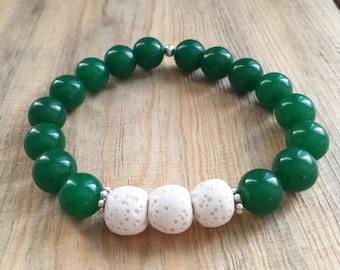 Emerald Green Quartzite Essential Oil Diffuser Bead Bracelet