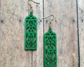 Gorgeous wooden deco dangle earrings