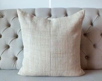 "20""x20""Vintage Hmong cushion cover, Handwoven Hemp Fabric-vintage Homespun hemp,Throw Pillow,Decorative cushions"