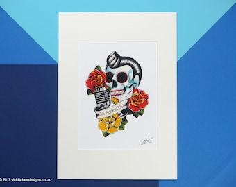 All Shook Up Elvis Roackabilly Sugar Skull Tattoo Flash Illustration Print