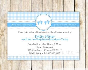 Grandma Baby Shower Invitation - Twins Baby Shower Invitation Blue Gingham Invitation Grandma Baby Sprinkle Invitation Blue Baby Boy Shower