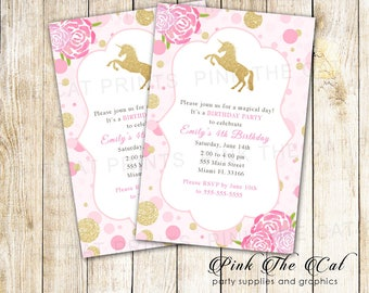 ON SALE Printable Unicorn Invitation Confetti Gold Glitter Unicorn Rainbow Invitation Girl Unicorn Birthday Invitation - Instant Download