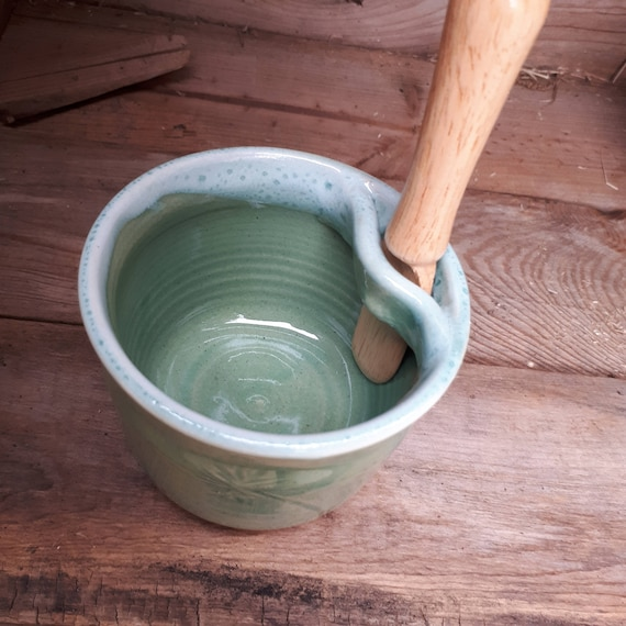Pottery pate or spread jar with knife in seafoarm green home decor gift for her