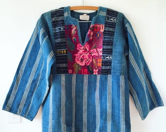 Vintage Guatemalan Indigo Top , Embroidered Ethnic Top