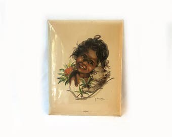 Vintage collectable 1950s Aboriginal Australian childrens print by Peg Maltby, Nibiana